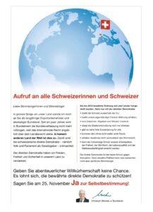 Aufruf an alle Schweizerinnen und Schweizer