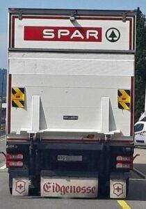 Eidgenosse Aufkleber auf SPAR Lastwagen
