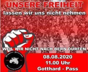 8. August Protestaktion – Sternfahrt auf den Gotthardpass