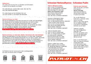 Neues Singblatt Schweizer Nationalhymne