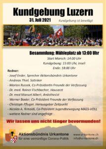 Kundgebung und Marsch Luzern - 31. Juli 2021