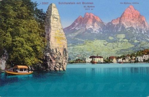 #wilhelmtell #schillerstein #mythenstein #mythen #brunnen #postkarte