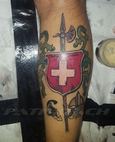 #tattoo #tattoos #hellebarde #wappen #schweizerkreuz #semperfidelis