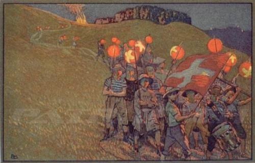 #postkarte #höhenfeuer #lampion #fahnen #trommel #1august #nationalfeiertag #bundesfeier #fêtenationale #1eraoût #festanazionale #1agosto