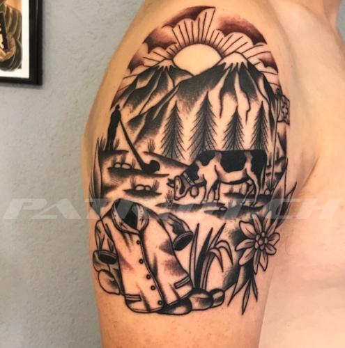 #tattoo #tattoos #alphorn #heimat #tradition #edelweiss #kuh #tracht #fahne