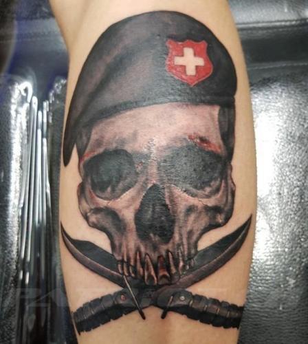 #tattoo #tattoos #skull #messer #wappen #schweizerkreuz