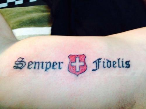 #tattoo #tattoos #semperfidelis #semperfi #immertreu #wappen #schweizerkreuz