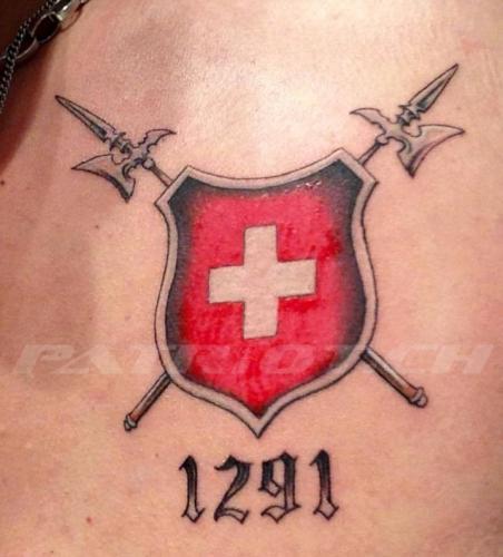 #tattoo #tattoos #schild #hellebarden #schweizerkreuz